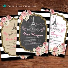 Paris Theme baby girl shower invitation. Chalkboard, burlap or white. Pink floral black and white stripes. Shabby chic printable B66 on Etsy, $12.00 Invitation Baby Shower, Baby Shower Invites For Girl, Baby Shower Themes, Girl Shower, Shower Ideas, Paris Birthday, Girl Birthday, Birthday Parties, Birthday Cards