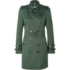 BURBERRY LONDON Cotton Queensborough Trench in Dark Racing Green (2.830 BRL) ❤ liked on Polyvore featuring outerwear, coats, jackets, burberry, green coats, stand collar coat, double-breasted trench coats, burberry trenchcoat and slim fit coat