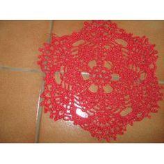 Napperon Crochet Noël - 0746 - 5 Euros - Rouge Métalisé Doré - Diamètre 21