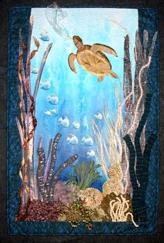 crazy quilting by hand Ocean Quilt, Beach Quilt, Crazy Quilt Blocks, Crazy Quilting, Sea Turtle Quilts, Landscape Art Quilts, Landscapes, Underwater Art, Quilting Templates