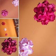 Kusudama de rosas! Origami arte!
