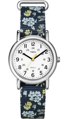 5c6307b99476 Timex Weekender Small T2P370 Women s Brass and Blue Floral Nylon Casual  Watch