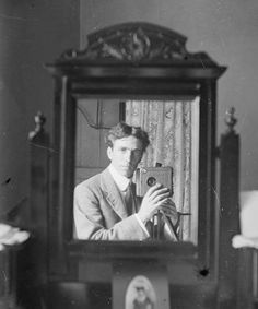 "This 1910 picture of Harold Cazneau by Harold Cazneau is an early example of a ""selfie."" Cazneau was an early Australian photographer wanting to explore photography for artistic purposes."