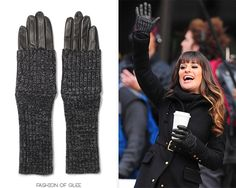 """Rachel didn't give in to wearing leg warmers as arm warmers back in """"Comeback"""", and she's not having any of it now!  Though it might look like she's wearing them in the latest NYC set pics, Rachel is actually wearing a chic leather glove / ribbed arm warmer combo piece from Club Monaco.  Club Monaco 'Lois' Gloves - $89.50  Worn with: Zara coat, Barneys New York Co-Op boots"""