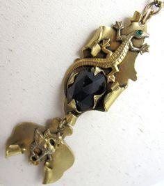 Vintage Art Nouveau Griffin Necklace Amethsyt by TonettesTreasures