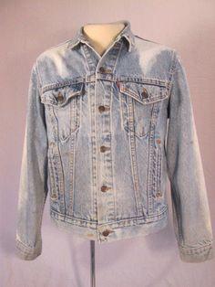 Vintage LEVI'S Distressed  Red Tag 70506--0216 Blue Bleached Jean Jacket Size 42 #Levis #JeanJacket
