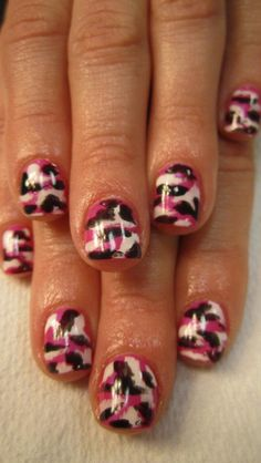Pink Camo design using CND Shellac gel polish