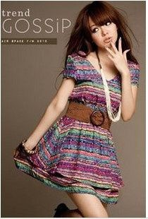 Korean sweet Rainbow stripe dress skirt the dress (with belt) dress