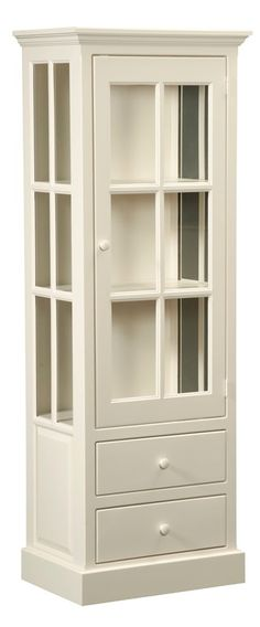 """Cape Cod Curio or Pantry is handmade by the Amish.  Your piece will be built with Premium Grade Eastern White Pine wood.  You will see some deformities and knots that come naturally with eastern pine.   Measures: 26"""" W x 71"""" H x 18"""" D Shown in Country White and features two (2) adjustable shelves."""