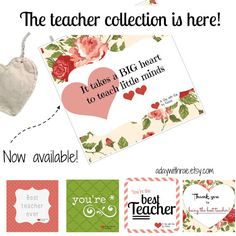 Teacher appreciation tea bag gift, $9.99, tea tags attached to heart-shaped tea bags