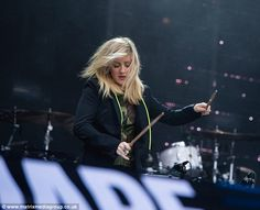 Marching to the beat of her drum: As ever, Ellie's energetic performance featured some drum work