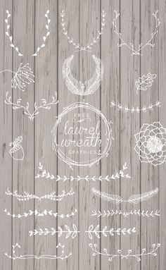 Free Laurel Wreath Graphics. Beautiful hand-drawn elements for your designs. Chalkboard Stencils, Wedding Graphics, Frame Wreath, Wedding Wreaths, Free Photoshop, Wreath Drawing, Free Hand Drawing, Laurel Wreath, Free Stencils