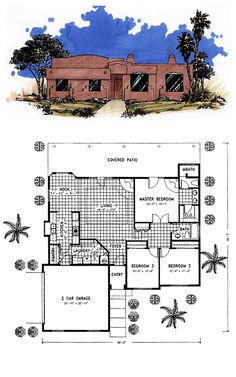Santa Fe House Plan 54606   Total Living Area: 1555 sq. ft., 3 bedrooms & 2 bathrooms. #santafestyle #houseplans