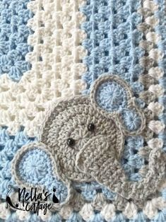 Granny Square crocheted baby blanket with elephant accent. Order for boy or girl.