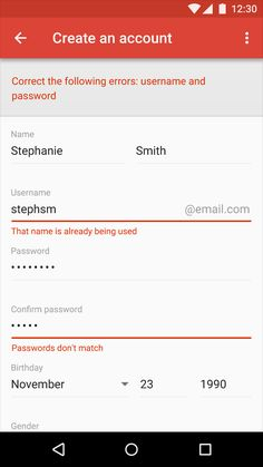 android #error #forms #notifications - UI Garage - The database of UI