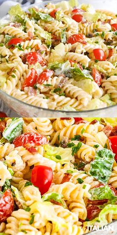 summer recipes BLT Pasta Salad is bursting with flavor and so easy and quick to throw together. This simple but so delicious twist on your favorite sandwich is always a hit at potlucks and parties! Healthy Salads, Healthy Dinner Recipes, Healthy Dishes, Pasta Recipes For Dinner, Cold Pasta Recipes, Rotini Pasta Recipes, Cold Pasta Dishes, Healthy Picnic Foods, Cold Side Dishes