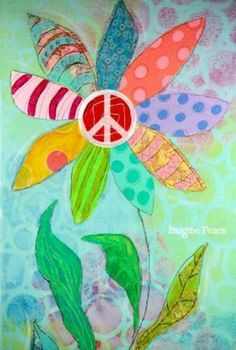 Original Flower Artwork Collage Painting on by ArtByAlisaSteady Kunstjournal Inspiration, Art Journal Inspiration, Painting Inspiration, Mixed Media Canvas, Mixed Media Collage, Collage Art, Atelier D Art, Hippie Art, Hippie Peace