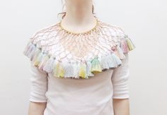 DOVE EYED/ Leather & Tassel necklace by DDSLLGirlsStore on Etsy, $64.00