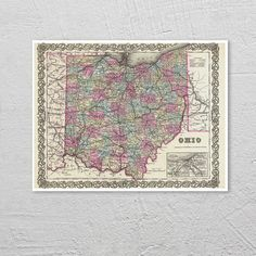 Antique Map of the State of Ohio ca 1855 Posters by PortofPrints