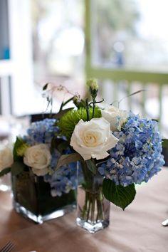Bridget & Lee | Southern Graces & Company | Lowcountry Bride | Wedding | Flowers | Bouquets | Blue Hydrangea | White Rose