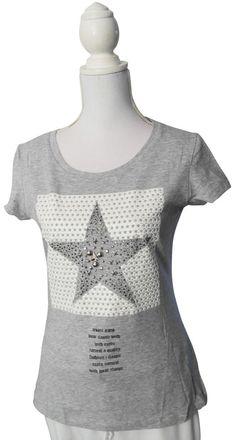 Impressionen Shirt T-Shirt Longshirt kurzarm grau Stern Nieten Schrift L/XL