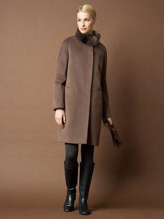 Пальто женское демисезонное цвет мокко, Пальтовая ткань, артикул 1014021p60188