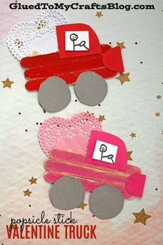 Eis am Stiel Stick Valentine Love Truck - Kid Craft Valentine's Day Crafts For Kids, Valentine Crafts For Kids, Holiday Crafts, Valentines Crafts For Kindergarten, Pot Mason Diy, Mason Jar Crafts, Creative Crafts, Fun Crafts, Paper Crafts