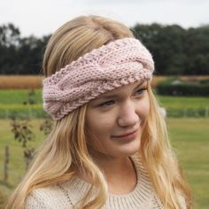 Stirnband stricken mit Zopf