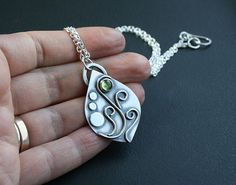 Leaf Pendant Necklace with Peridot Gemstone in Sterling Silver