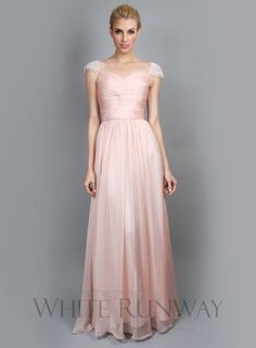 Sweet Pearl Cap Sleeve Dress -- The Sweet Pearl Cap Sleeve Dress is a gorgeous gown for your bridesmaids. Features delicate gathering along the upper body and cute cap sleeves with pearl detailing. Available in Pale Pink & Pure White.