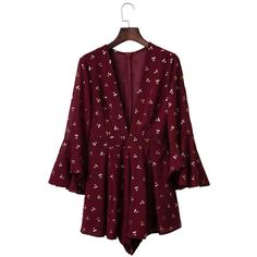 Yoins Flared Sleeves Floral Print Playsuit (6.200 HUF) ❤ liked on Polyvore featuring jumpsuits, rompers, yoins, dresses, jumpsuit, burgundy, burgundy jumpsuit, party rompers, summer jumpsuits and floral rompers