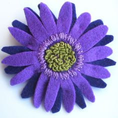 Purple Flower Brooch Large Gerbera Brooch by CraftyJoDesigns
