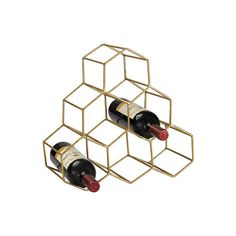 Sterling Industries 51-026 Angular Study Hexagonal Wine Rack Gold Home ($50) ❤ liked on Polyvore featuring home, kitchen & dining, bar tools, gold, home decor, organization, wine racks and sterling industries