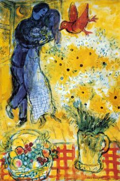 """When Matisse dies,"" Pablo Picasso remarked in the ""Chagall will be the only painter left who understands what color really is"". I love Chagall! Marc Chagall, Artist Chagall, Chagall Paintings, Oil Paintings, Indian Paintings, Abstract Paintings, Painting Art, Landscape Paintings, Henri Matisse"