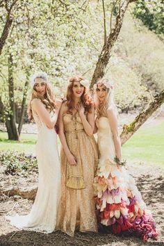 Vintage Boho Wedding Bridesmaids Gold Dress