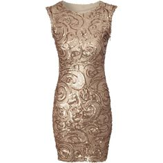 Jane Norman Gold sequin swirl bodycon dress ($32) ❤ liked on Polyvore featuring dresses, vestidos, short dresses, robes, gold, women, short gold dresses, gold sequin cocktail dress, short sequin dress and bodycon party dresses