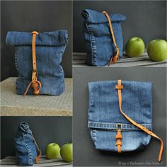 denim snack bag :: a recycling project [Inspiration Mondial Tissus] On recycle un vieux jean trop grand et on en fait un sac, chic.