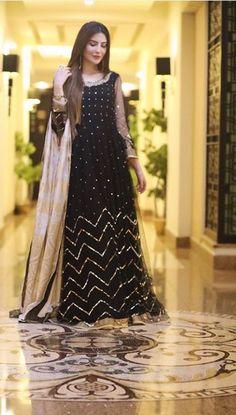 Black Pakistani Dress, Simple Pakistani Dresses, Pakistani Dress Design, Black Anarkali, Stylish Dresses, Simple Dresses, Beautiful Dresses, Fashion Dresses, Beautiful Women