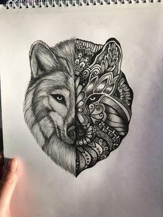Wolf mandala Instagram samigray_tattoo_art