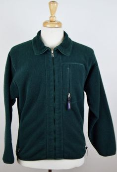 Men's Patagonia Synchilla solid green LS zip up polyester Fleece Jacket Medium #Patagonia #FleeceJacket