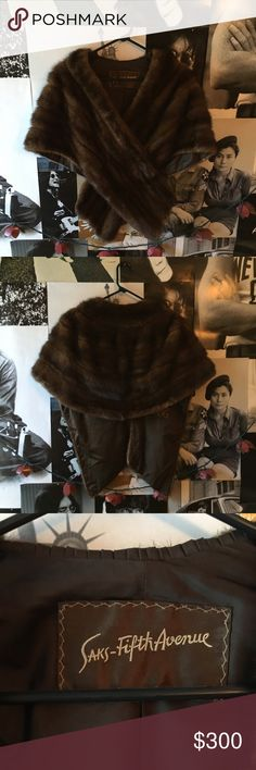 Vintage 1950's Mink Stole The epitome of old school, Hollywood glamour. From Saks Fifth Avenue, with tag and embroidered initials of original owner. Saks Fifth Avenue Accessories Scarves & Wraps