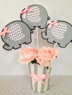 Elephant Baby Shower Centerpiece for Girls, Pink and Gray Baby Shower Decorations by AllDiaperCakes on Etsy