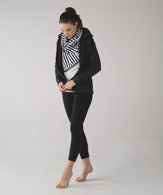 Lululemon Black and White Stripes Vinyasa Scarf with Gold Zipper *SE