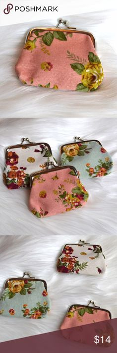 Pink Floral Coin Purse Super cute. Can fit in a back pocket or a purse. Due to the uniqueness of each item, the print on each is different. Other colors available in separate listings. No trades. No lowball offers. Bags