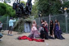 Lucy, Ashley, Troian, Shay and Janel behind the scenes