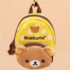 yellow dot Rilakkuma bear backpack charm 1