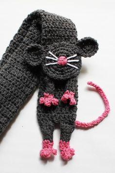 """Cachecol em crochê """"ratinho"""""""