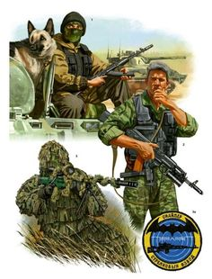 "Spetsnaz. Johnny Shumate Chechnya (1) ""Hunter,"" Grozny, 1995. (2) Bodyguard, Novye Ataghy, 1998. (3) Sniper, 2003. (3a) Spetsnaz sniper badge."