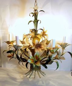 Vintage ITALIAN TOLE LILY Chandelier Ceiling Lamp 6 Light Tropical Floral
