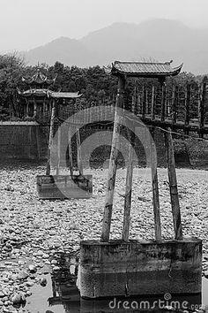 Cable bridge black white image at mingjiang river , dujiangyan , sichuan, China . in brought period